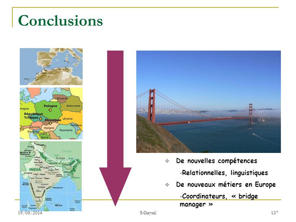 19/08/2014 S.Gayral 137  De nouvelles compétences Relationnelles, linguistiques  De nouveaux métiers en Europe Coordinateurs, « bridge manager » Con