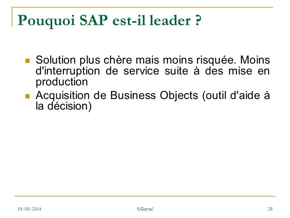19/08/2014 S.Gayral 28 Solution plus chère mais moins risquée. Moins d'interruption de service suite à des mise en production Acquisition de Business