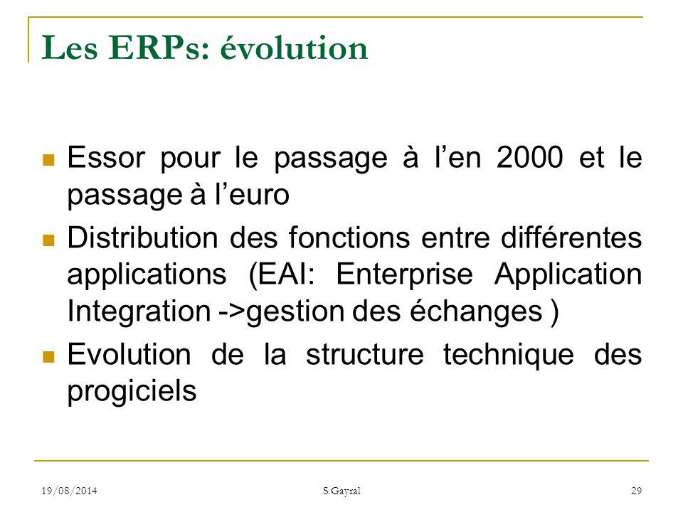 19/08/2014 S.Gayral 29 Essor pour le passage à l'en 2000 et le passage à l'euro Distribution des fonctions entre différentes applications (EAI: Enterp