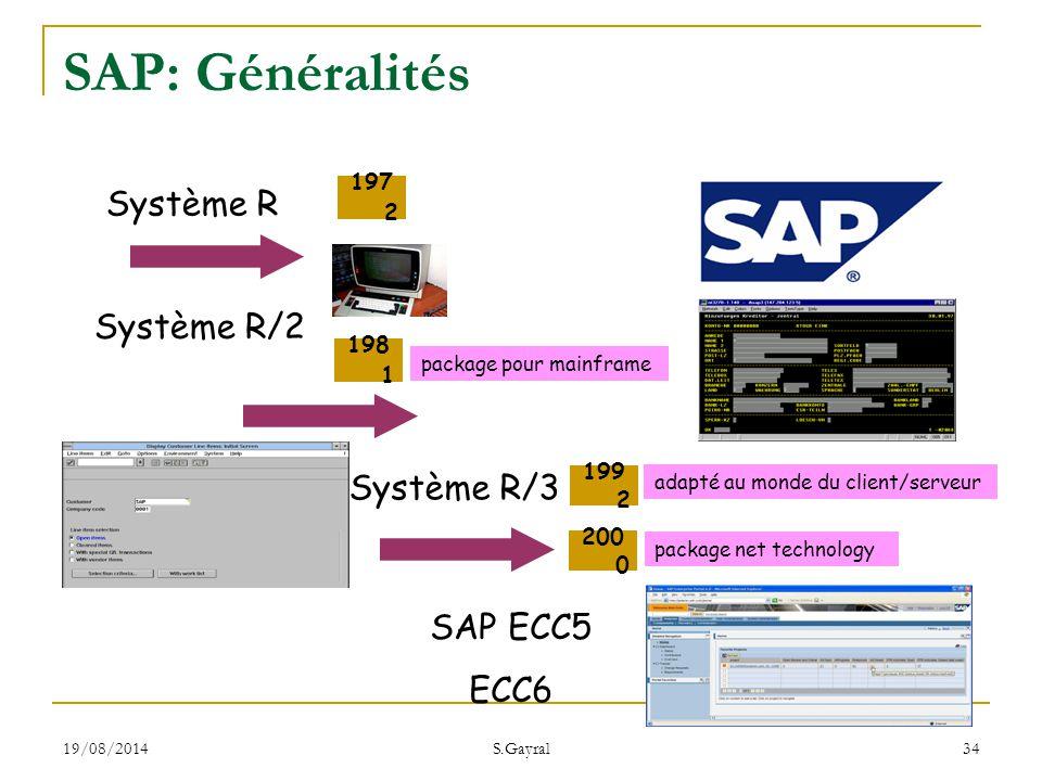 19/08/2014 S.Gayral 34 Système R Système R/2 197 2 198 1 package pour mainframe Système R/3 SAP ECC5 ECC6 199 2 200 0 adapté au monde du client/serveu