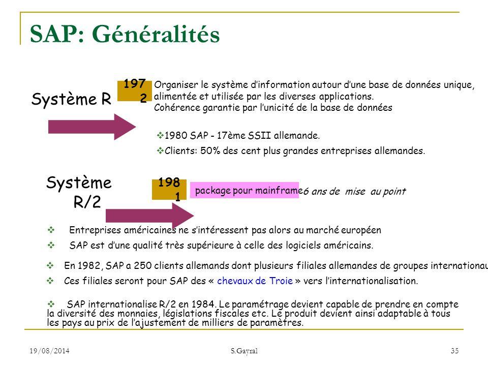 19/08/2014 S.Gayral 35 Système R Système R/2 197 2 198 1 package pour mainframe 6 ans de mise au point Organiser le système d'information autour d'une