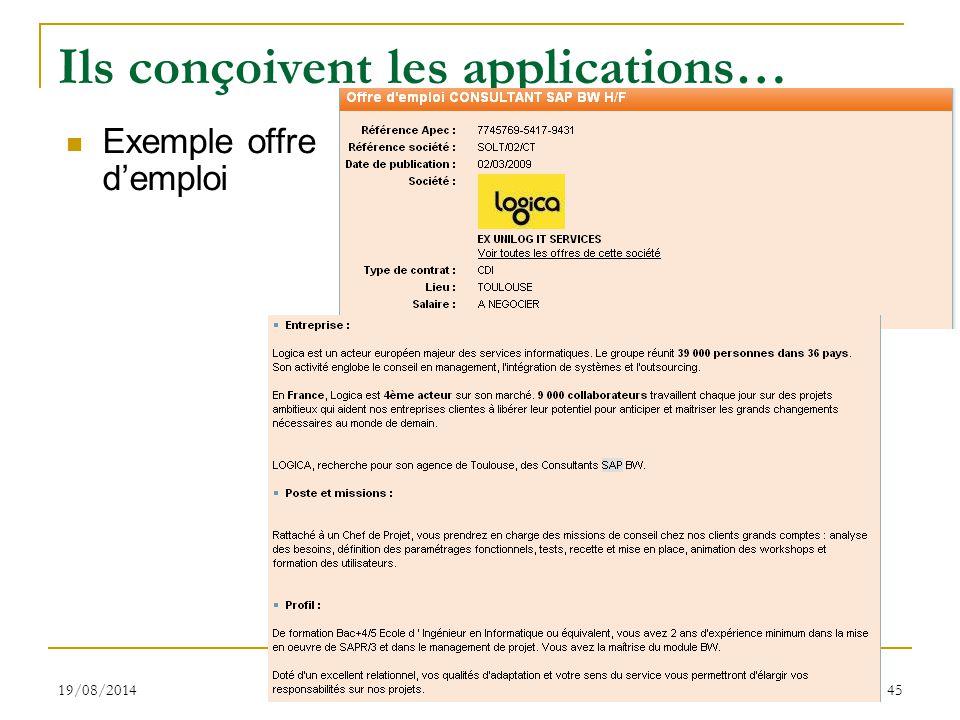 19/08/2014 S.Gayral 45 Ils conçoivent les applications… Exemple offre d'emploi