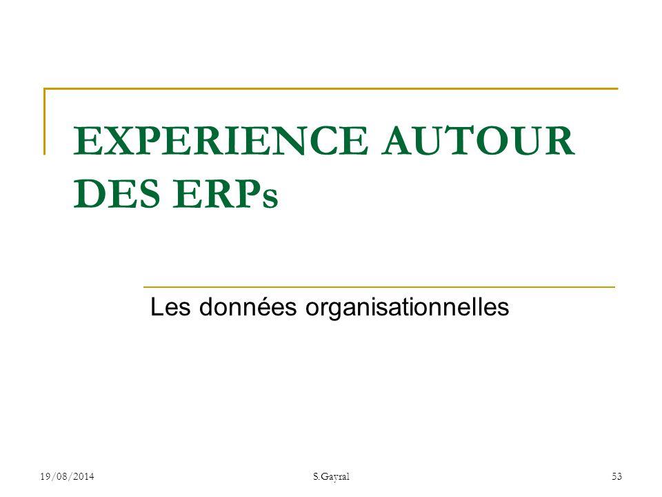 19/08/2014S.Gayral53 Les données organisationnelles EXPERIENCE AUTOUR DES ERPs