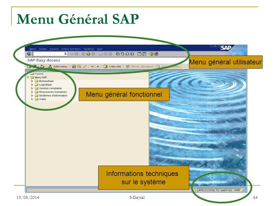 19/08/2014 S.Gayral 64 Menu Général SAP Menu général utilisateur Menu général fonctionnel Informations techniques sur le système