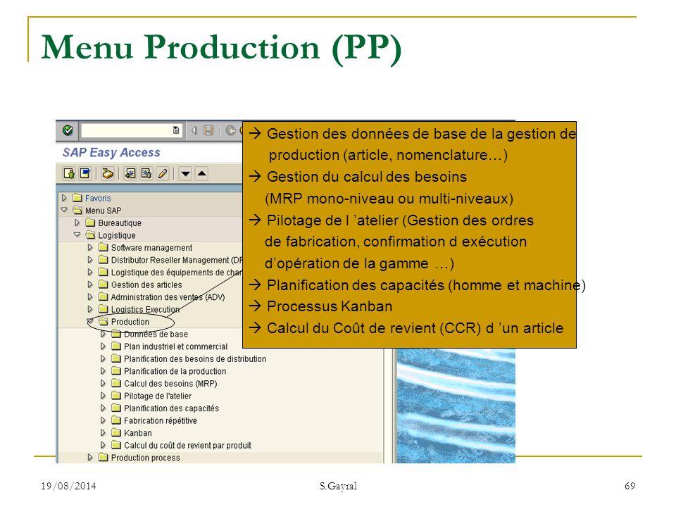 19/08/2014 S.Gayral 69  Gestion des données de base de la gestion de production (article, nomenclature…)  Gestion du calcul des besoins (MRP mono-ni
