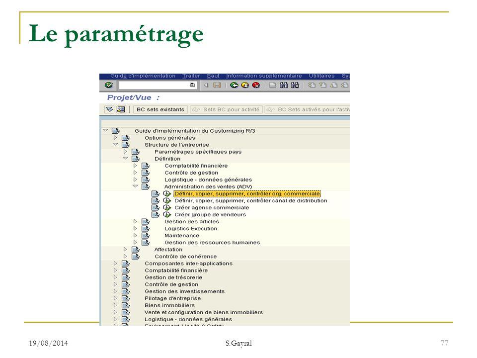 19/08/2014 S.Gayral 77 Le paramétrage