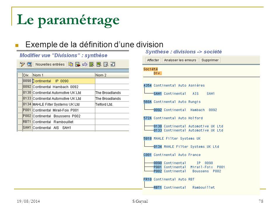 19/08/2014 S.Gayral 78 Le paramétrage Exemple de la définition d'une division
