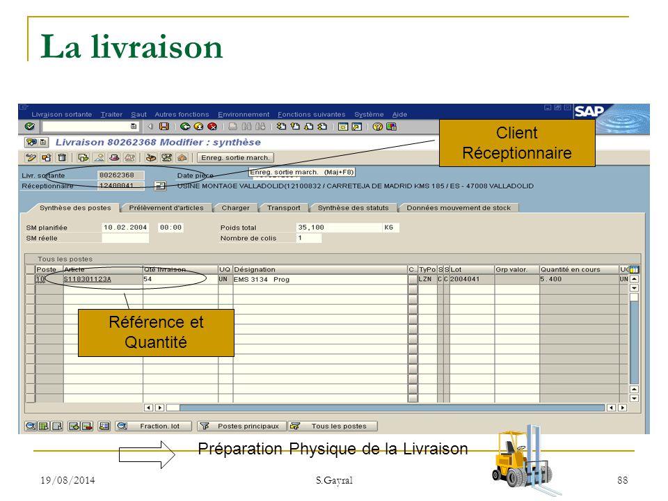 19/08/2014 S.Gayral 88 Préparation Physique de la Livraison Référence et Quantité Client Réceptionnaire La livraison