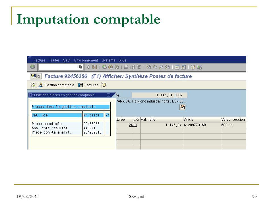 19/08/2014 S.Gayral 90 Imputation comptable