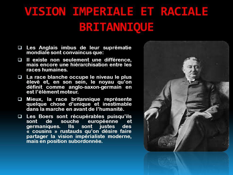 VISION IMPERIALE ET RACIALE BRITANNIQUE  Les Anglais imbus de leur suprématie mondiale sont convaincus que:  Il existe non seulement une différence,