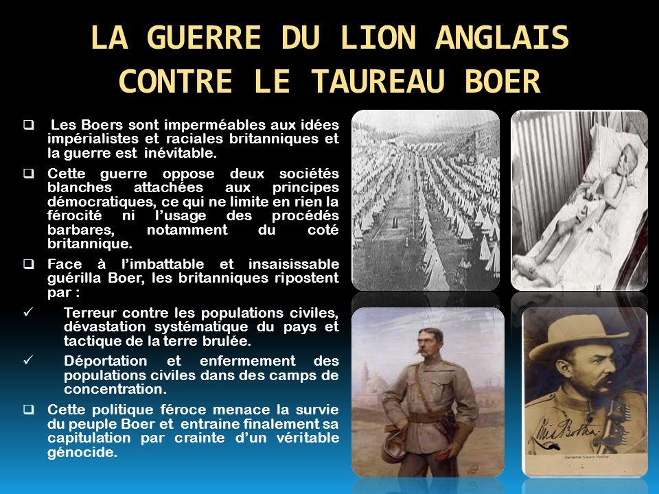 LA GUERRE DU LION ANGLAIS CONTRE LE TAUREAU BOER  Les Boers sont imperméables aux idées impérialistes et raciales britanniques et la guerre est inévi
