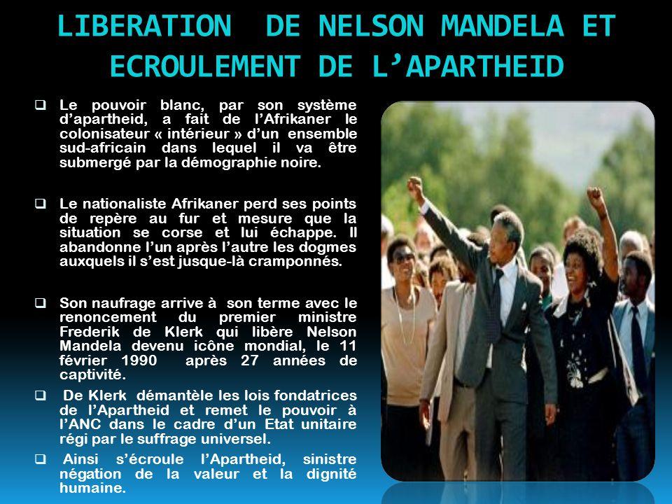 LIBERATION DE NELSON MANDELA ET ECROULEMENT DE L'APARTHEID  Le pouvoir blanc, par son système d'apartheid, a fait de l'Afrikaner le colonisateur « in