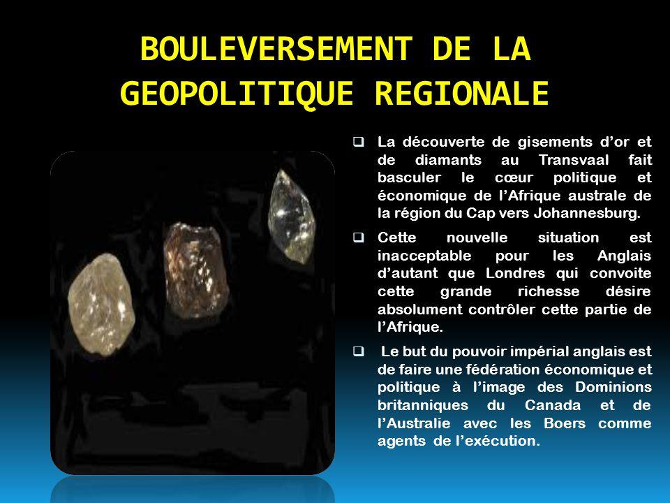 BOULEVERSEMENT DE LA GEOPOLITIQUE REGIONALE LLa découverte de gisements d'or et de diamants au Transvaal fait basculer le cœur politique et économiq