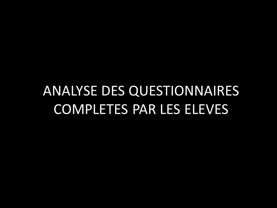 ANALYSE DES QUESTIONNAIRES COMPLETES PAR LES ELEVES