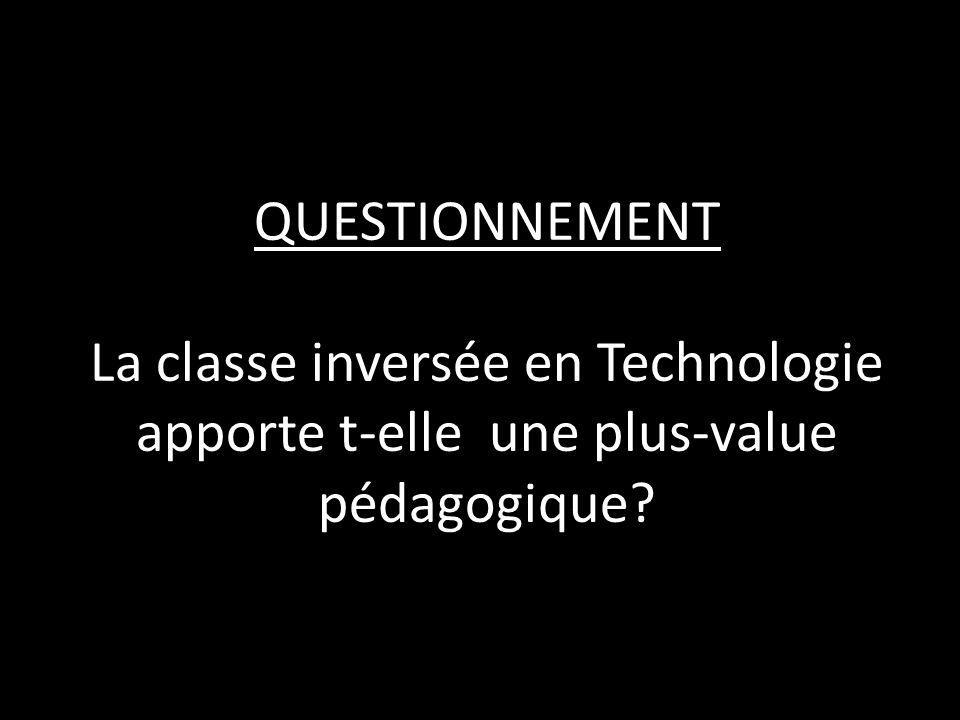 QUESTIONNEMENT La classe inversée en Technologie apporte t-elle une plus-value pédagogique?