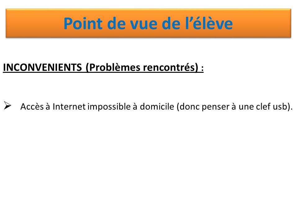 INCONVENIENTS (Problèmes rencontrés) :  Accès à Internet impossible à domicile (donc penser à une clef usb). Point de vue de l'élève