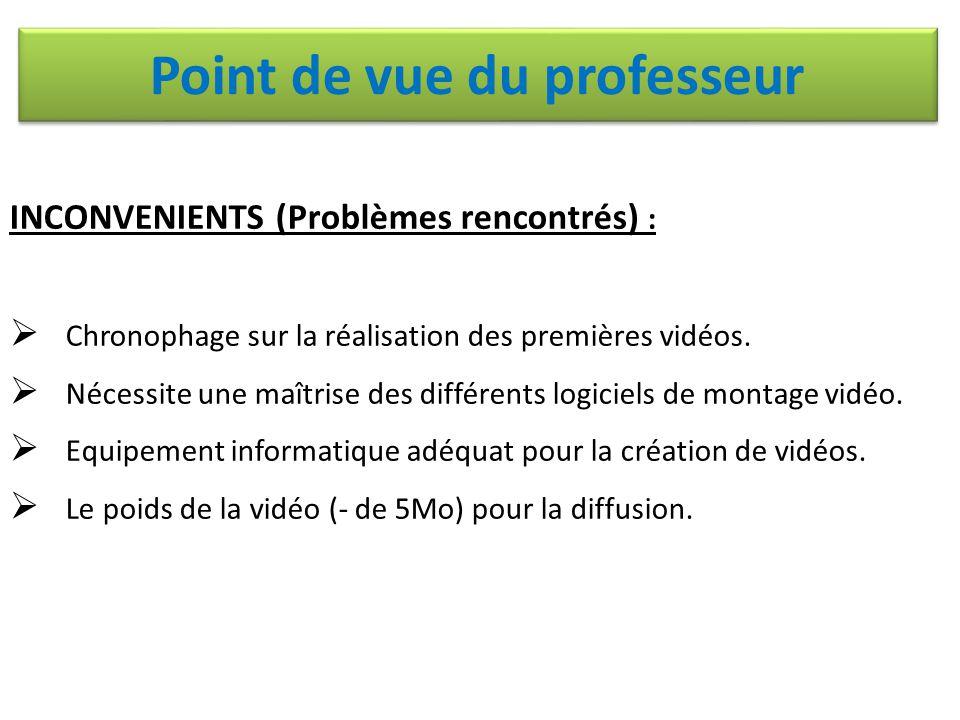 INCONVENIENTS (Problèmes rencontrés) :  Chronophage sur la réalisation des premières vidéos.  Nécessite une maîtrise des différents logiciels de mon