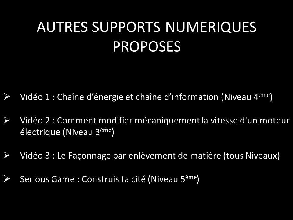 AUTRES SUPPORTS NUMERIQUES PROPOSES  Vidéo 1 : Chaîne d'énergie et chaîne d'information (Niveau 4 ème )  Vidéo 2 : Comment modifier mécaniquement la