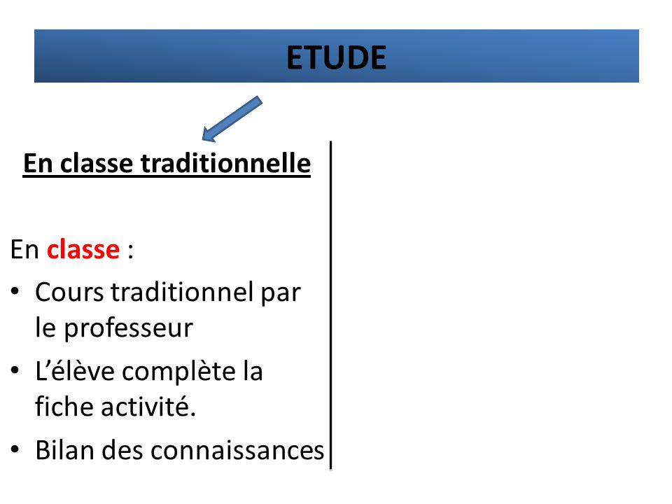 En classe traditionnelle En classe : Cours traditionnel par le professeur L'élève complète la fiche activité. Bilan des connaissances ETUDE