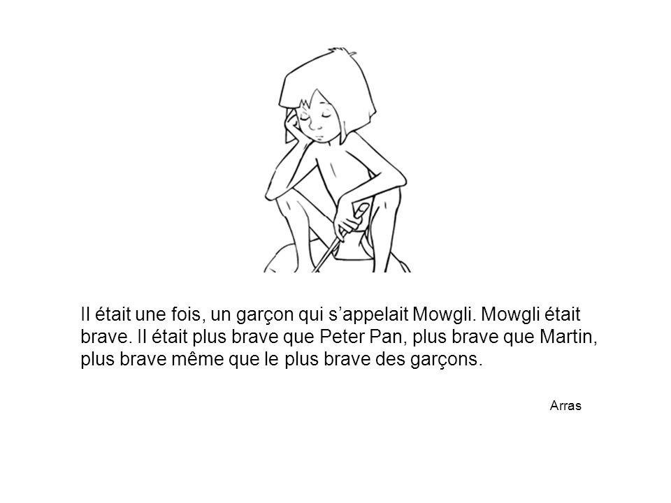 Il était une fois, un garçon qui s'appelait Mowgli. Mowgli était brave. Il était plus brave que Peter Pan, plus brave que Martin, plus brave même que