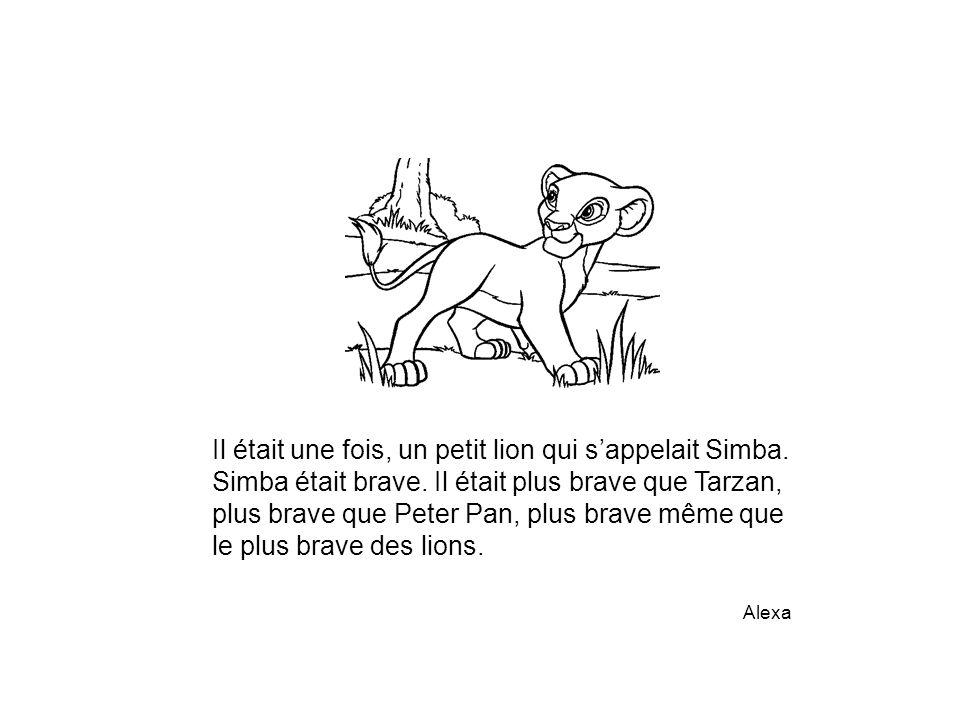 Il était une fois, un petit lion qui s'appelait Simba. Simba était brave. Il était plus brave que Tarzan, plus brave que Peter Pan, plus brave même qu
