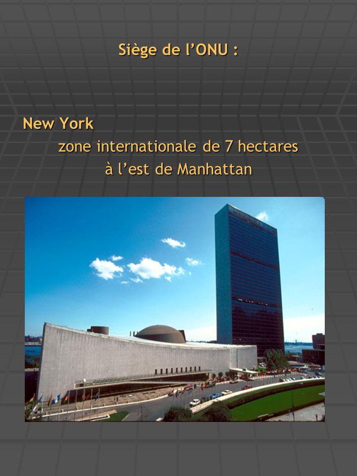 Siège de l'ONU : New York zone internationale de 7 hectares à l'est de Manhattan
