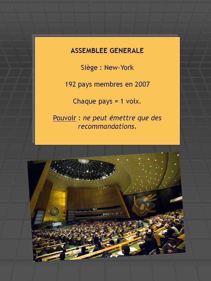 ASSEMBLEE GENERALE Siège : New-York 192 pays membres en 2007 Chaque pays = 1 voix. Pouvoir : ne peut émettre que des recommandations. ASSEMBLEE GENERA