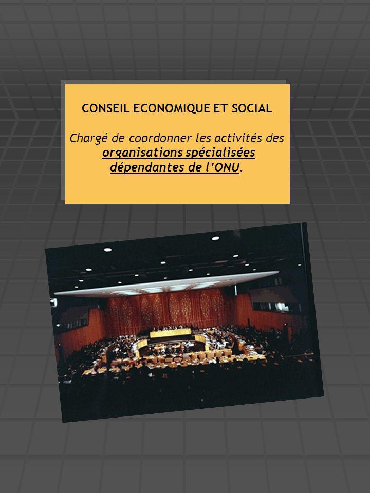CONSEIL ECONOMIQUE ET SOCIAL Chargé de coordonner les activités des organisations spécialisées dépendantes de l'ONU. CONSEIL ECONOMIQUE ET SOCIAL Char