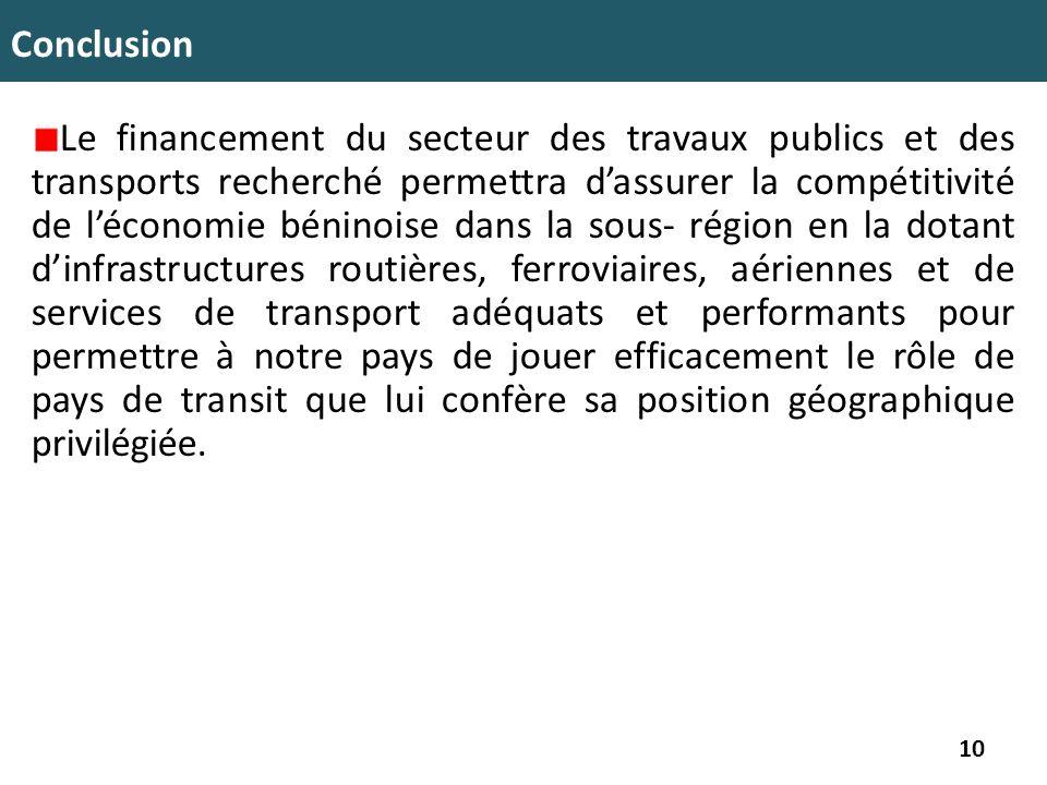 Conclusion Le financement du secteur des travaux publics et des transports recherché permettra d'assurer la compétitivité de l'économie béninoise dans