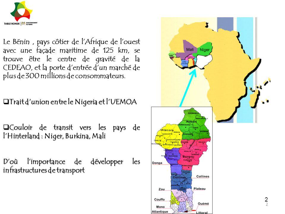 2 2 Le Bénin, pays côtier de l'Afrique de l'ouest avec une façade maritime de 125 km, se trouve être le centre de gravité de la CEDEAO, et la porte d'