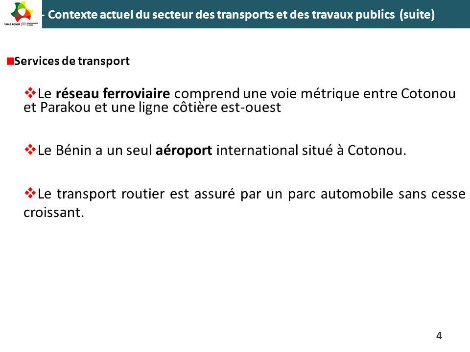 1 - Contexte actuel du secteur des transports et des travaux publics (suite) Services de transport  Le réseau ferroviaire comprend une voie métrique
