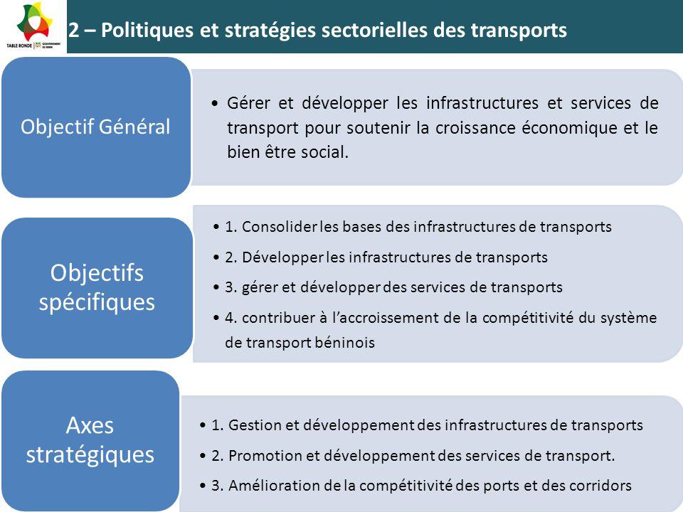 2 – Politiques et stratégies sectorielles des transports Gérer et développer les infrastructures et services de transport pour soutenir la croissance