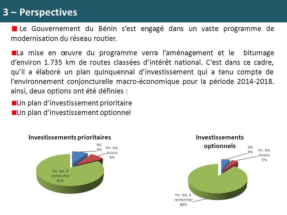 3 – Perspectives Le Gouvernement du Bénin s'est engagé dans un vaste programme de modernisation du réseau routier. La mise en œuvre du programme verra