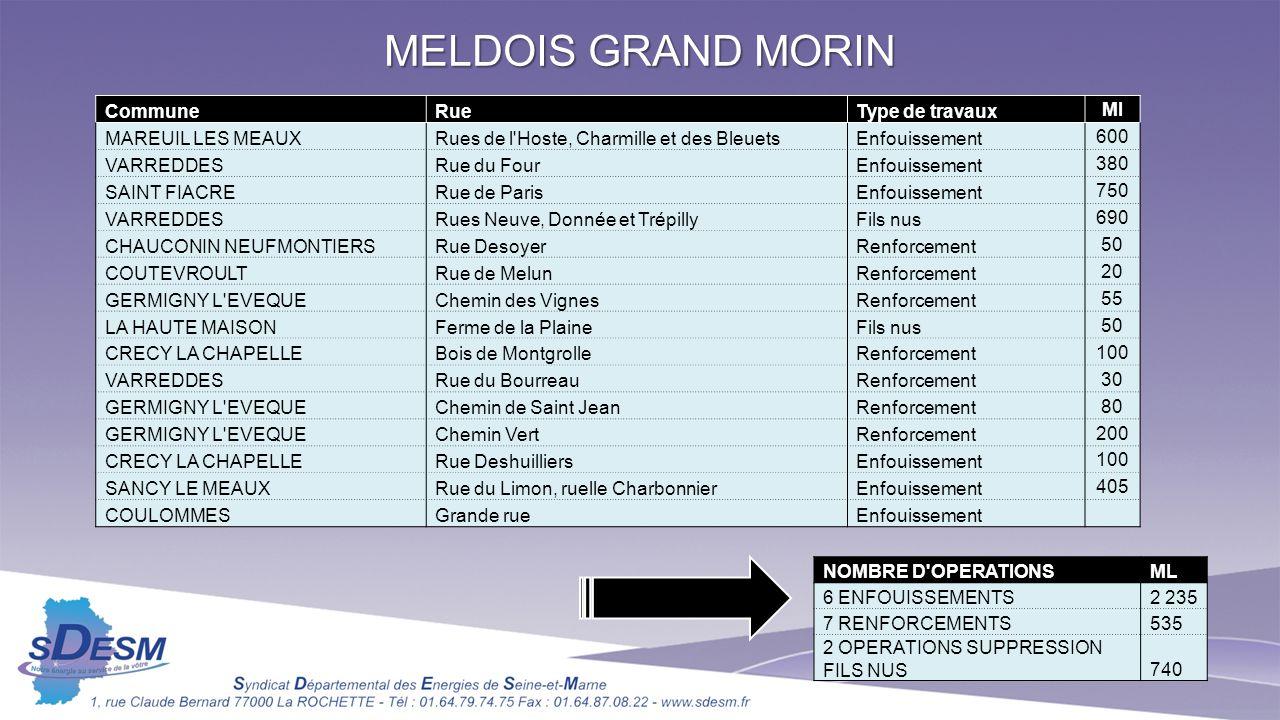 MELDOIS GRAND MORIN CommuneRueType de travaux Ml MAREUIL LES MEAUXRues de l'Hoste, Charmille et des BleuetsEnfouissement 600 VARREDDESRue du FourEnfou