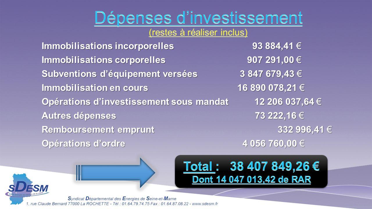 Immobilisations incorporelles 93 884,41 € Immobilisations corporelles 907 291,00 € Subventions d'équipement versées 3 847 679,43 € Immobilisation en c