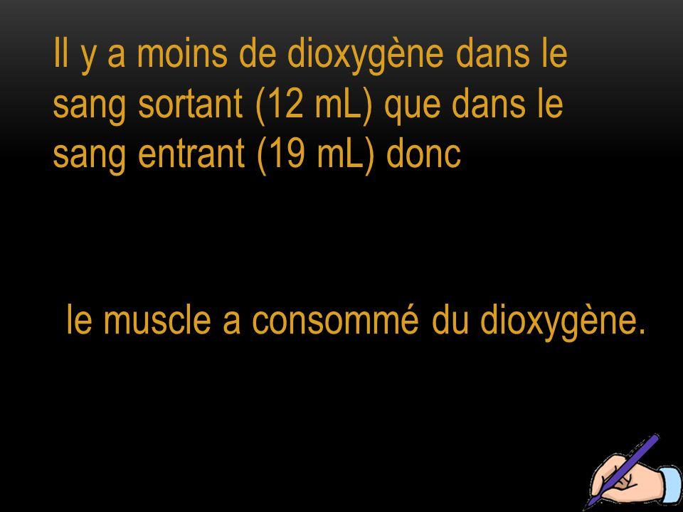 Il y a moins de dioxygène dans le sang sortant (12 mL) que dans le sang entrant (19 mL) donc le muscle a consommé du dioxygène.
