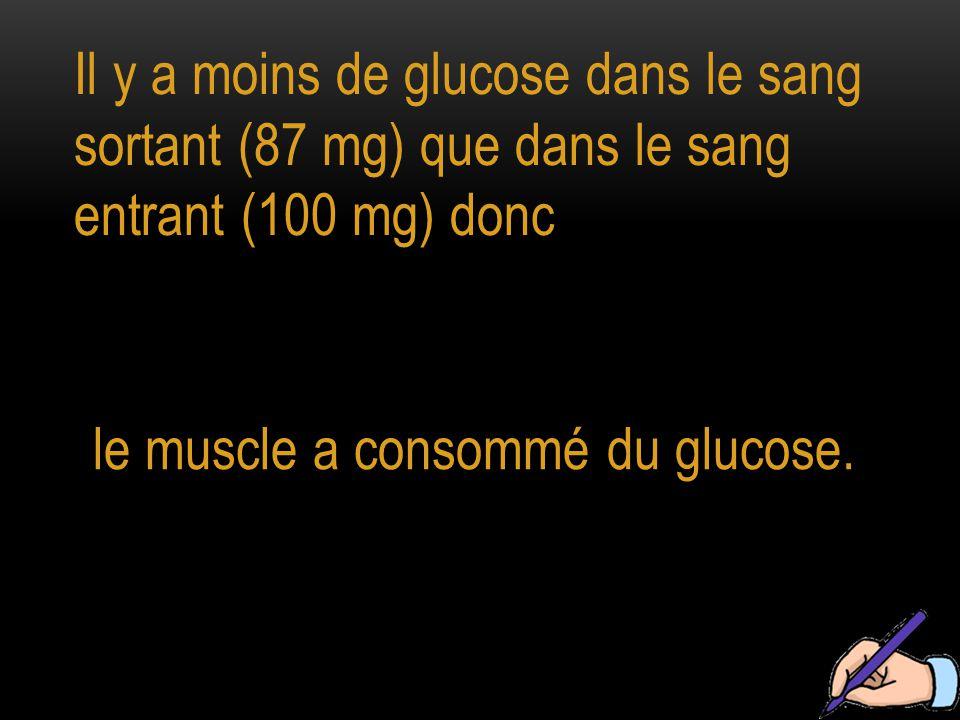 Il y a moins de glucose dans le sang sortant (87 mg) que dans le sang entrant (100 mg) donc le muscle a consommé du glucose.