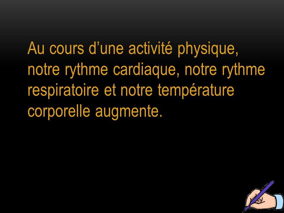 Au cours d'une activité physique, notre rythme cardiaque, notre rythme respiratoire et notre température corporelle augmente.