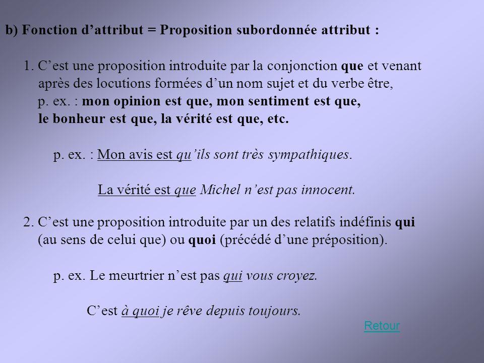b) Fonction d'attribut = Proposition subordonnée attribut : 1. C'est une proposition introduite par la conjonction que et venant après des locutions f