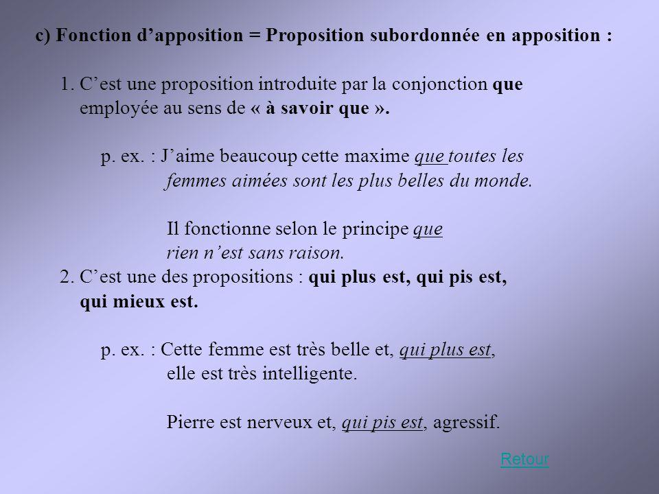 c) Fonction d'apposition = Proposition subordonnée en apposition : 1. C'est une proposition introduite par la conjonction que employée au sens de « à
