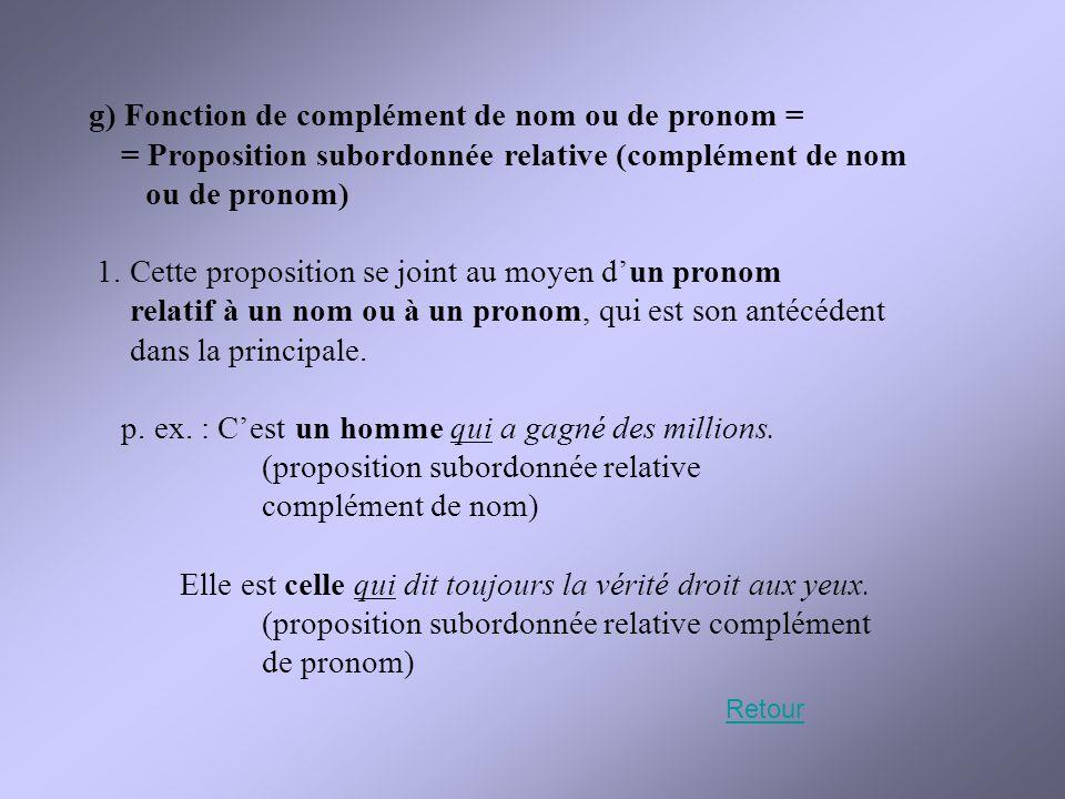 g) Fonction de complément de nom ou de pronom = = Proposition subordonnée relative (complément de nom ou de pronom) 1. Cette proposition se joint au m