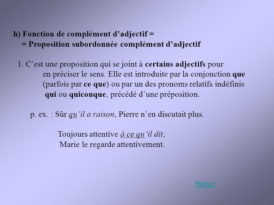 h) Fonction de complément d'adjectif = = Proposition subordonnée complément d'adjectif 1. C'est une proposition qui se joint à certains adjectifs pour