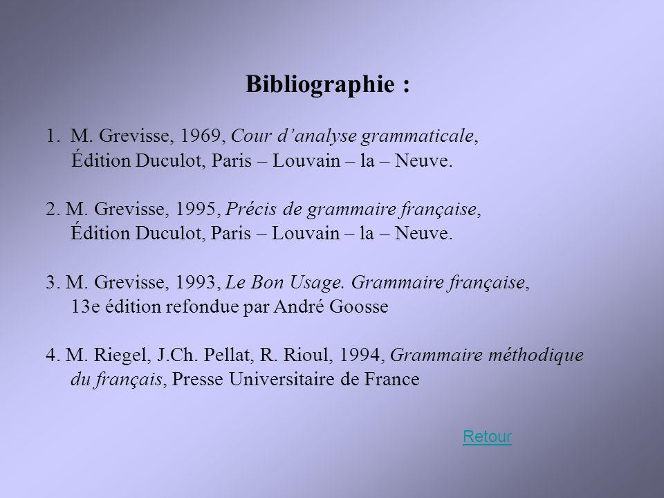 Bibliographie : 1.M. Grevisse, 1969, Cour d'analyse grammaticale, Édition Duculot, Paris – Louvain – la – Neuve. 2. M. Grevisse, 1995, Précis de gramm