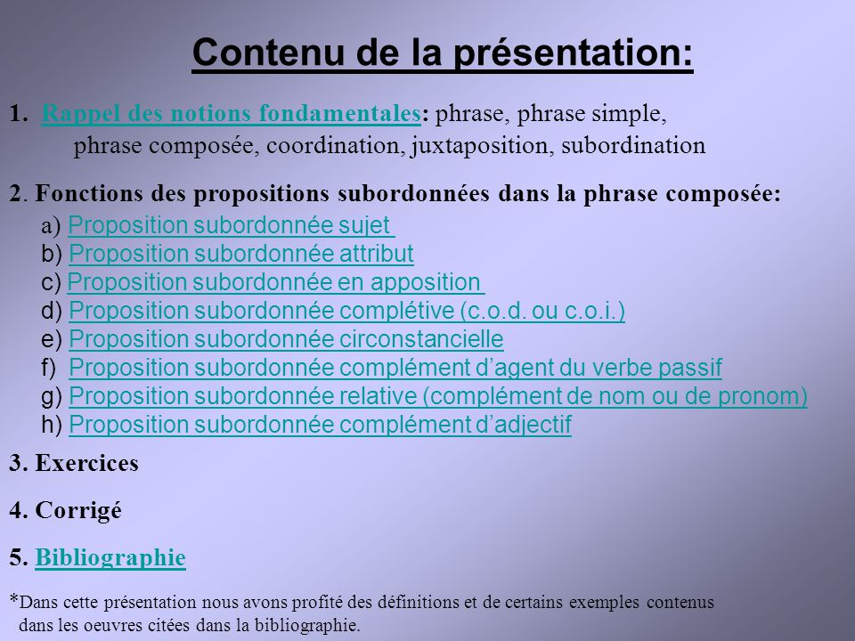 Contenu de la présentation: 1.Rappel des notions fondamentales: phrase, phrase simple,Rappel des notions fondamentales phrase composée, coordination,