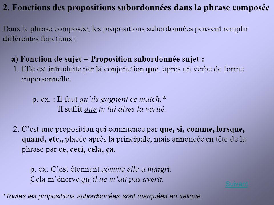 2. Fonctions des propositions subordonnées dans la phrase composée Dans la phrase composée, les propositions subordonnées peuvent remplir différentes