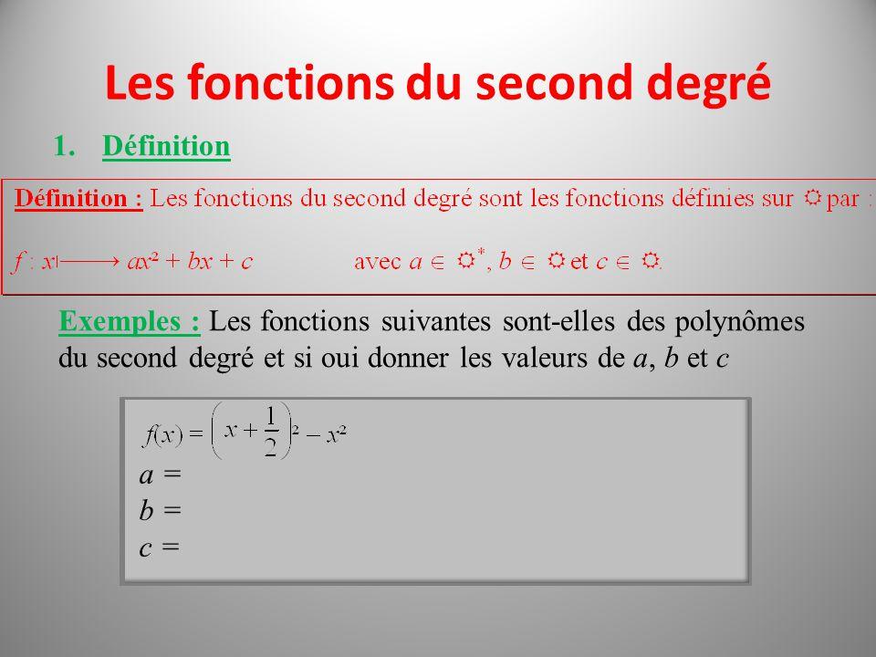 Les fonctions du second degré 1.Définition Exemples : Les fonctions suivantes sont-elles des polynômes du second degré et si oui donner les valeurs de