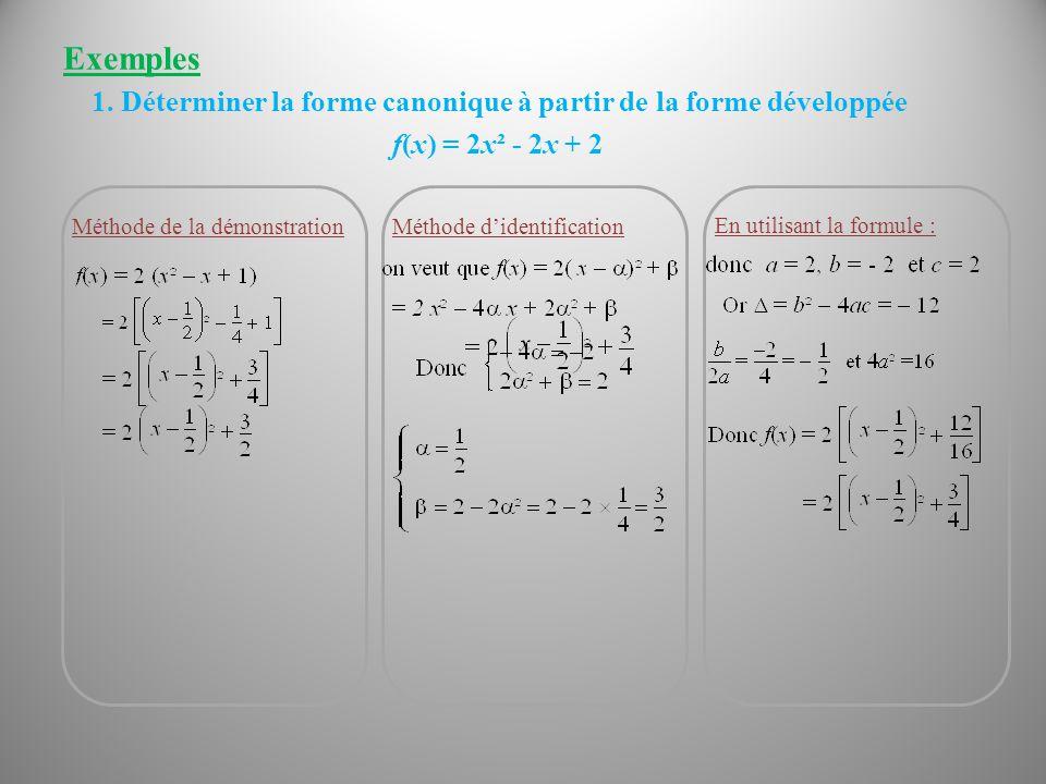 Exemples Méthode de la démonstration f(x) = 2x² - 2x + 2 En utilisant la formule : Méthode d'identification 1. Déterminer la forme canonique à partir