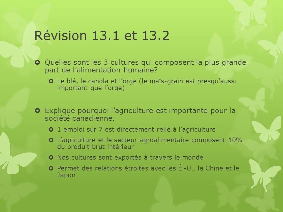 Révision 13.1 et 13.2  Quelles sont les 3 cultures qui composent la plus grande part de l'alimentation humaine?  Le blé, le canola et l'orge (le maï