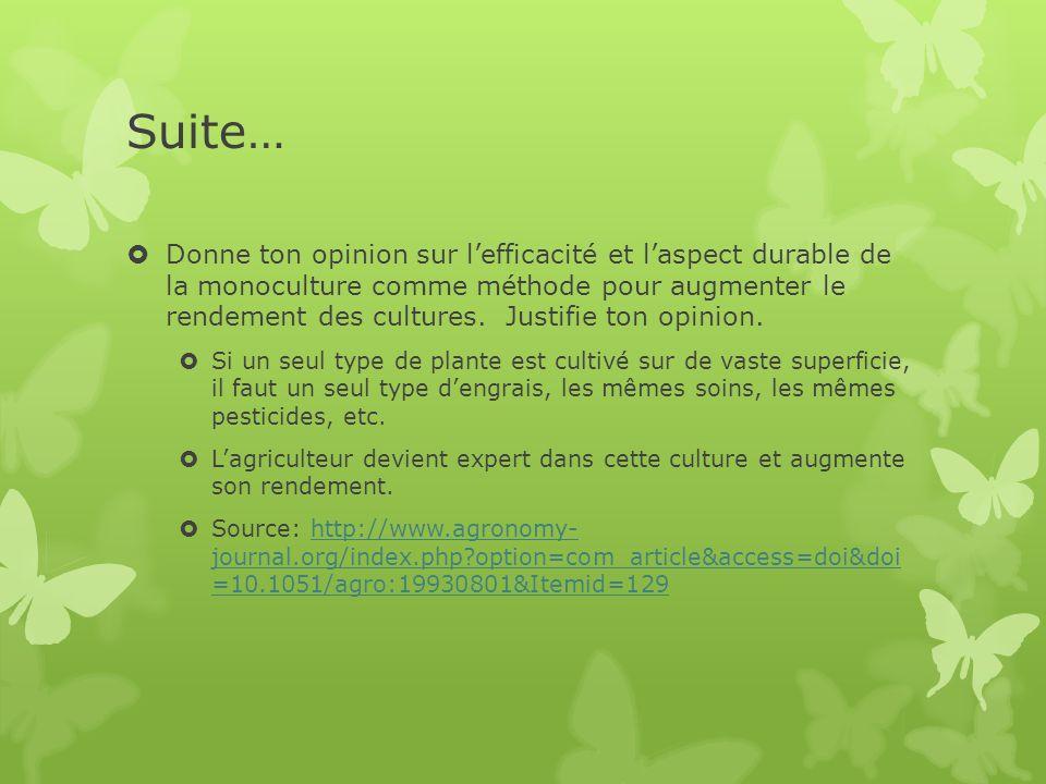 Suite…  Donne ton opinion sur l'efficacité et l'aspect durable de la monoculture comme méthode pour augmenter le rendement des cultures.