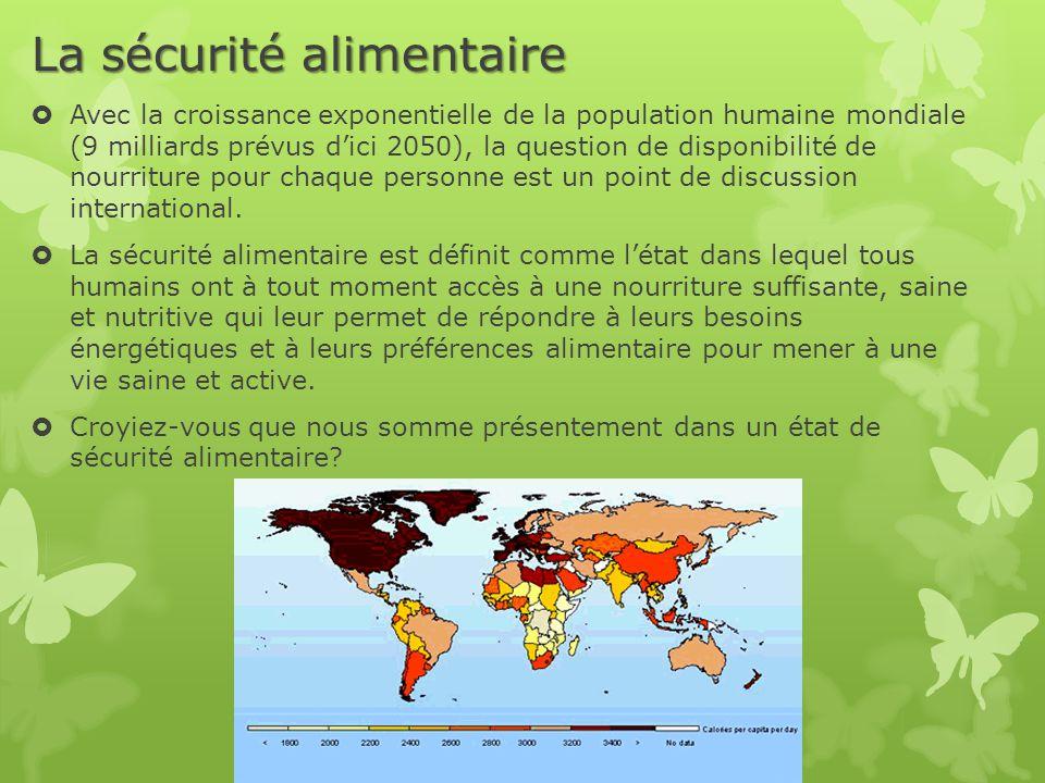 La sécurité alimentaire  Avec la croissance exponentielle de la population humaine mondiale (9 milliards prévus d'ici 2050), la question de disponibilité de nourriture pour chaque personne est un point de discussion international.